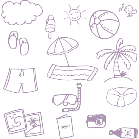 picnic blanket: Beach set doodle vector art with hand draw