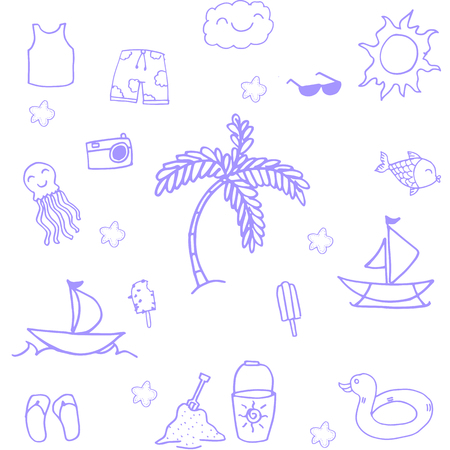 Summer holiday of doodles vector art illustration