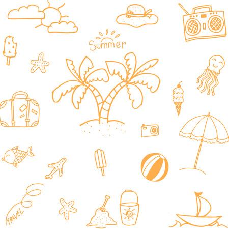 summer holidays: Orange Summer doodles set vector art illustration
