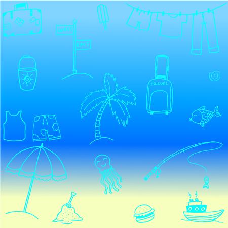 blanket fish: Cute doodle summer holiday vector art illustration