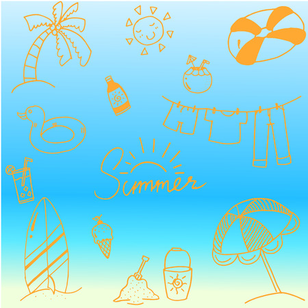 picnic blanket: Beautiful doodle of summer vector art illustration Illustration