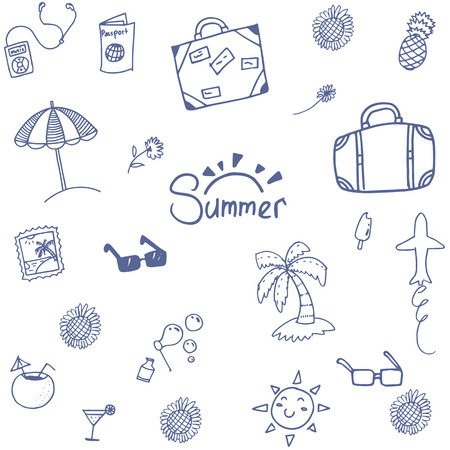 summer holiday: Summer happy holiday doodle with hand draw Illustration