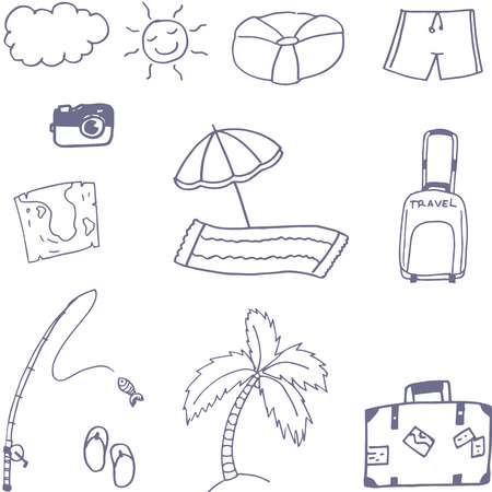 Holiday in beach doodle vector art with hand draw