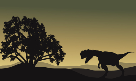 Dilophosaurus in hills scenery silhouette at the afternoon