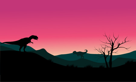 behemoth: allosaurus at morning scenery silhouette with pink backgrounds