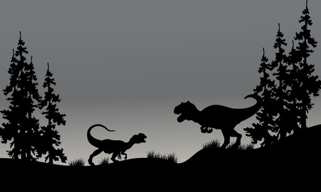 behemoth: Silhouette of two allosaurus in hills with gray backgrounds Illustration