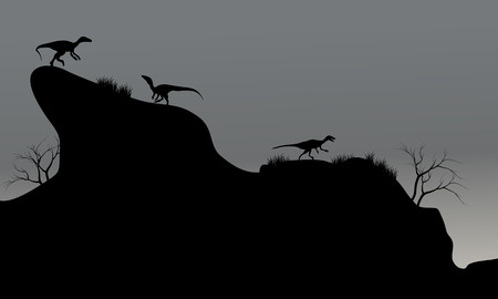 dinosaurus: eoraptor in cliff silhouette at night with gray backgrounds