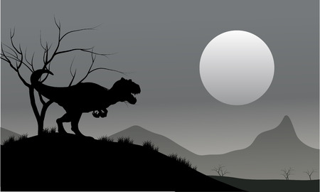 behemoth: Silhouette of allosaurus with moon at the night Illustration