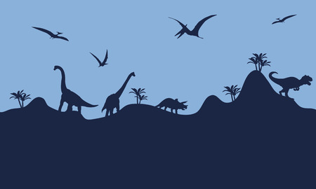 Many dinosaur in hills scenry silhouette with blue backgrounds