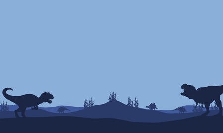 Silhouette of Tyranosaurus and allosaurus with blue backgrounds Иллюстрация