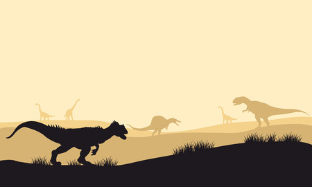 vicious: Silhouette of allosaurus at morning with fog in the park