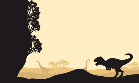 Silhouette of allosaurus with Brachiosaurus at the morning