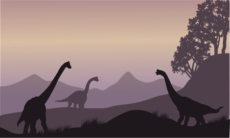 black giant mountain: Silhouette of many brachiosaurus in the hills Illustration
