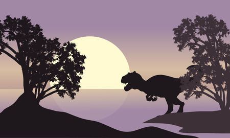 titan: allosaurus in riverbank scenery silhouette at the sunset