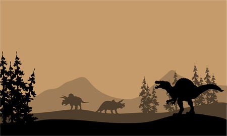 triceratops: Silhouette of spinosaurus and Triceratops in the hills