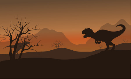 gigantic: Silhouette of allosaurus in dry hills at afternoon