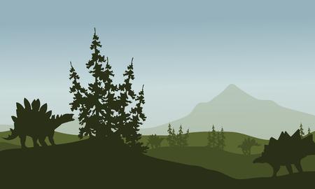 stegosaurus: Silueta de estegosaurio en campos verdes en la ma�ana