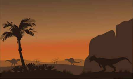 behemoth: Silhouette of Spinosaurus and Allosaurus at the afternoon Illustration