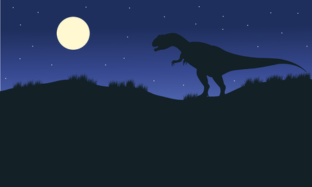 titan: Silhouette of one allosaurus with moon at the night