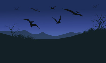 pterodactyl: Silhouette of many pterodactyl at the night