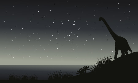 black giant mountain: Silhouette of brachiosaurus at night with gray backgrounds Illustration