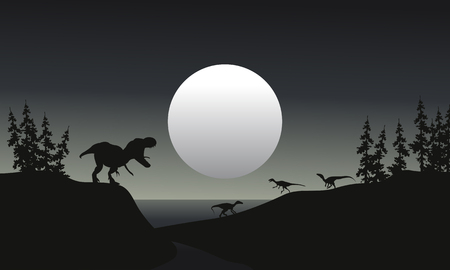 saurian: tyranosaurus reptile illustration silhouette at the night Illustration