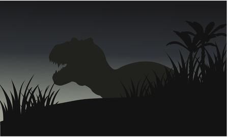 Silhouette der großen tyranosaurus mit Gras und blauem Hintergrund