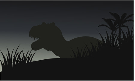 saurian: Silhouette of big tyranosaurus with grass and blue backgrounds