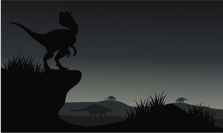 vicious: Silhouette of Ankylosaurus and dilophosaurus with gray backgrounds