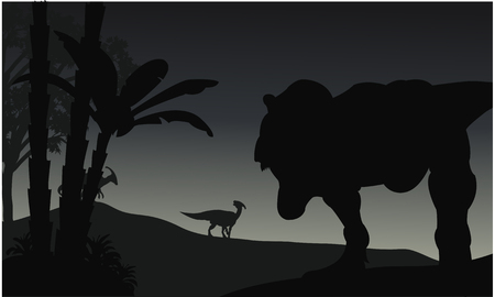 vermin: Silhouette of Tyranosaurus and Parasaurolophus at the night