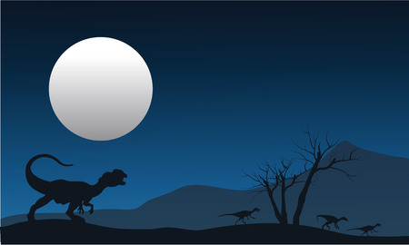 vicious: Silhouette of dilophosaurus with moon in the fields