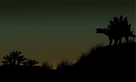 enormous: Silhouette of stegosaurus in fields scenery at the night Illustration