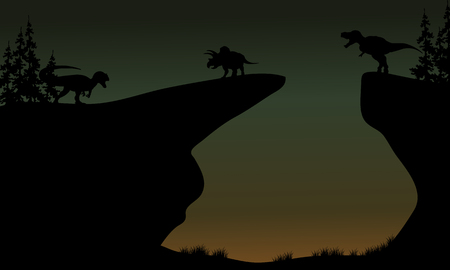 behemoth: Silhouette of Triceratops and Allosaurus in the cliff
