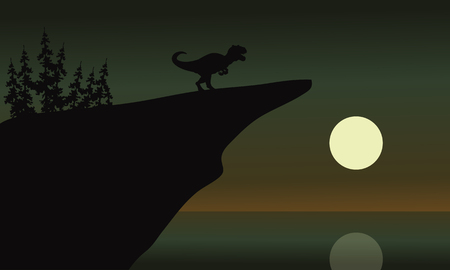 behemoth: allosaurus in cliff with moon at the night Illustration