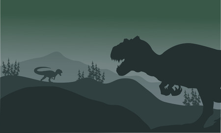gigantic: Allosaurus at the night silhouette a very beautiful