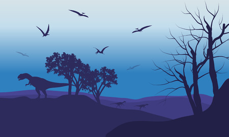 titan: Silhouette of Pterodactyl and Allosaurus with purple backgrounds