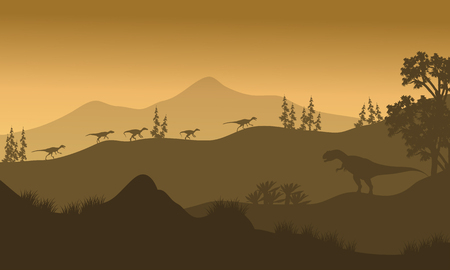 behemoth: Silhouette of Eoraptor and Allosaurus at the sunrise Illustration