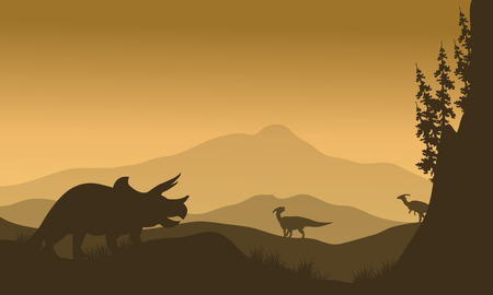 behemoth: Parasaurolophus and Triceratops in hills of silhouette at morning Illustration