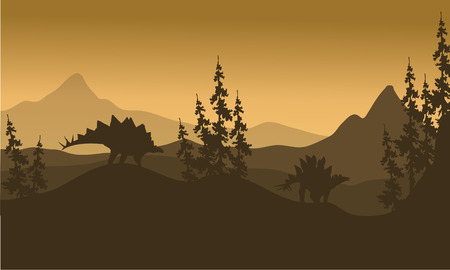 enormous: Landscape Stegosaurus silhouette in hills at the morning