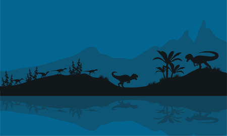 riverbank: Silhouette of Allosaurus in riverbank at the night Illustration