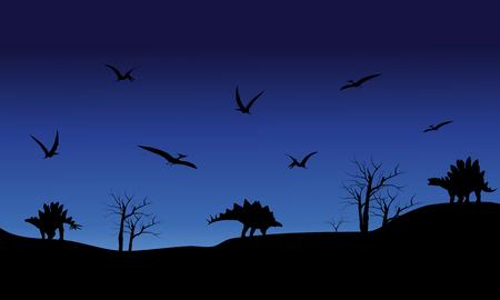stegosaurus: Silueta de pterodáctilo y Stegosaurus en la noche