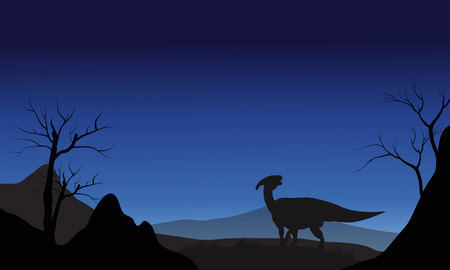 titan: Silhouette of one Parasaurolophus at the night Illustration