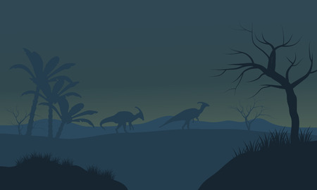 Parasaurolophus in fields scnery silhouette with fog Иллюстрация