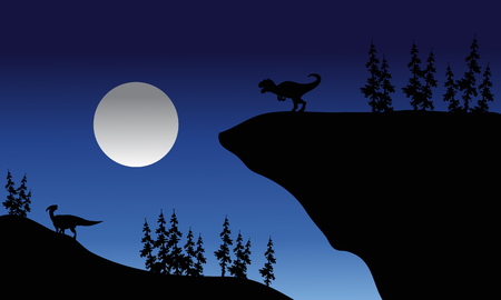 Silhouette of Allosaurus and Parasaurolophus at the night