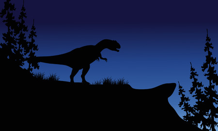 titan: At night silhouette of Allosaurus in the hills