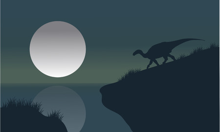 riverbank: Iguanodon in riverbank with moon silhouette scenery a beautiful