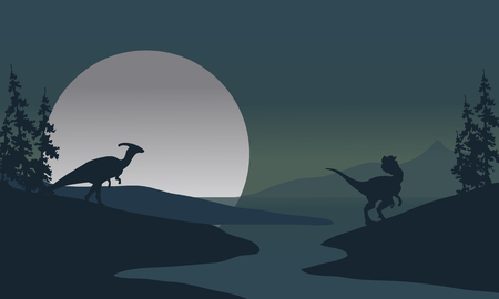 Silhouette of Dilophosaurus and Parasaurolophus in the riverbank Иллюстрация