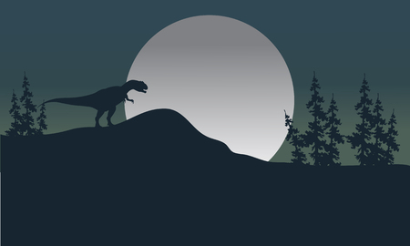 Silhouette of one Allosaurus with moon at the night