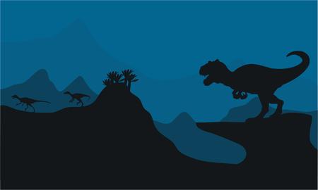 vicious: Silhouette of Big Allosaurus at the night