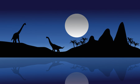 black giant mountain: Silhouette of Brachiosaurus in riverbank at the night